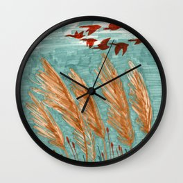 Geese Flying over Pampas Grass Wall Clock