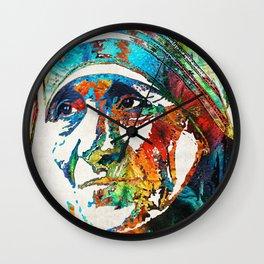 Mother Teresa Tribute by Sharon Cummings Wall Clock