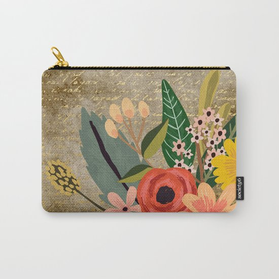 Flower bouquet letter gold #10 Carry-All Pouch