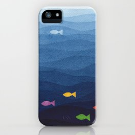 Coloured fish say hooray iPhone Case