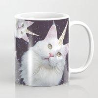unicorn Mugs featuring Unicorn Cat by Oh Monday
