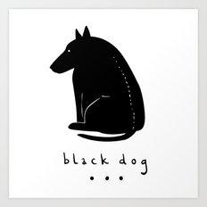 BLACK DOG Art Print