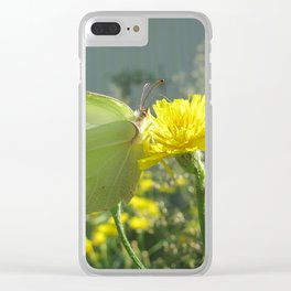 Brimstone butterfly and yellow flower 2 Clear iPhone Case