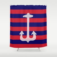 anchor Shower Curtains featuring anchor by gzm_guvenc