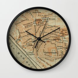 Vintage Coimbra Portugal Map (1913) Wall Clock
