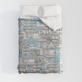 Paris toile cornflower blue Duvet Cover