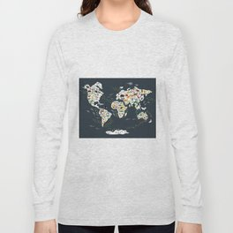Cartoon animal world map for kids, back to school. Animals from all over the world Long Sleeve T-shirt