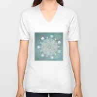 batik V-neck T-shirts featuring Turquoise Batik Mandala Float by DebS Digs Photo Art