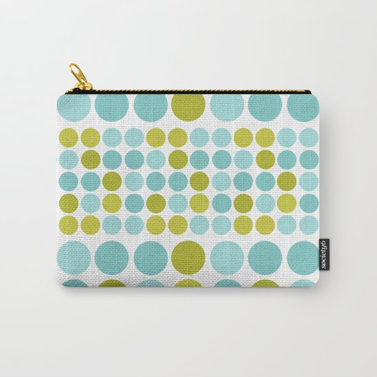 The pattern Green -  blue  polka dots. Carry-All Pouch