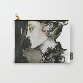Black and white fashion illustration Carry-All Pouch
