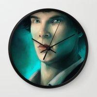 sherlock holmes Wall Clocks featuring Sherlock Holmes by Elzart