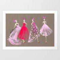 Showroom Girls Gouache Fashion Illustration Art Print