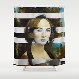 "Leonardo Da Vinci's ""Portrait of Ginevra Benci"" & Elizabeth Taylor Shower Curtain"