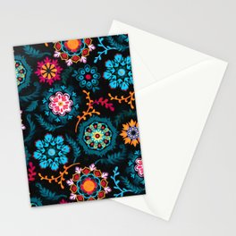 Suzani Inspired Pattern on Black Stationery Cards