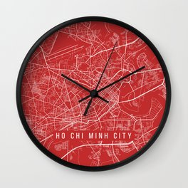 Ho Chi Minh City Map, Vietnam - Red Wall Clock