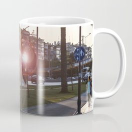 Tram running between the street and the walking path in Izmir Coffee Mug