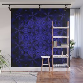 Deep Blue Delicate Flowers Wall Mural