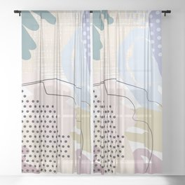 Soft Pastel colors Decorative Abstract painting -2, Colour Symphony abstraction, Sheer Curtain