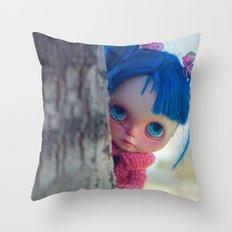 Little naughty girl Blythe Throw Pillow