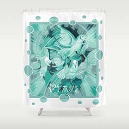 Dove With Celtic Peace Text In Aqua Tones Shower Curtain