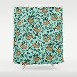 Cute Little Sloth, Sweet Sloth, Teal Print Shower Curtain
