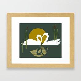 Swans at Sunset Framed Art Print