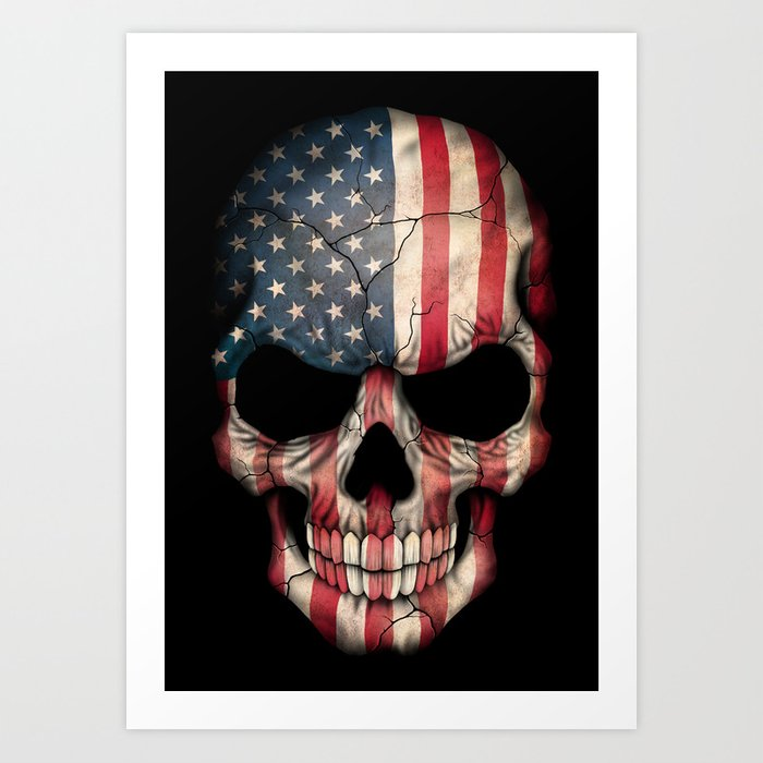 American Flag Skull on Black Kunstdrucke