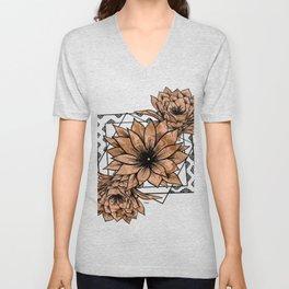 Cactus Flowers - Transparent Gold Unisex V-Neck