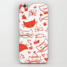 Cats In Red iPhone & iPod Skin