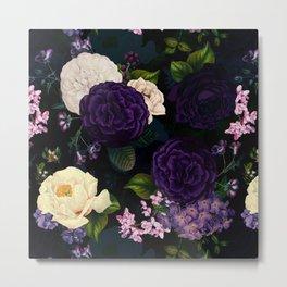 Vintage Midnight Purple Botanical Roses Flower Garden Metal Print