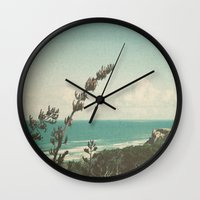 west coast Wall Clocks featuring West Coast by Hilary Upton