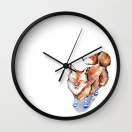 Smiling Red Fox in Blue Socks Wall Clock