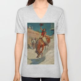 "N C Wyeth Western Painting ""The Rodeo"" Unisex V-Neck"