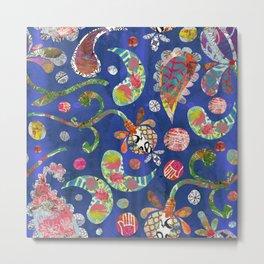Blue Paisley Collage Metal Print