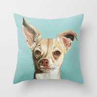 harley Throw Pillows featuring harley by Nathan Rhoads