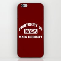 nasa iPhone & iPod Skins featuring Property of NASA Mars Curiosity Rover Athletic Wear White ink by RockatemanDesigns