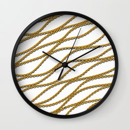 Wave Gold Chain White Wall Clock