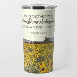 Proverbs and Sunflowers Travel Mug