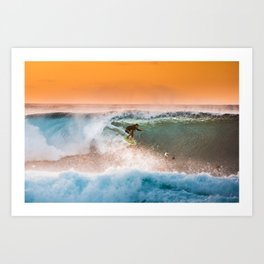 Sunset surfing in Hawaii Art Print