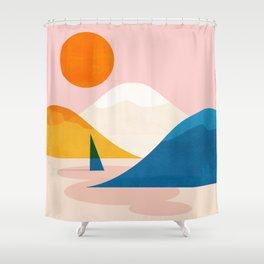 Abstraction_Lake_Sunset_Minimalism_002 Shower Curtain