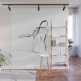 Woman Line Drawing Wall Mural