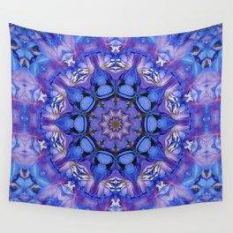 Summer sky Delphinium mandala Wall Tapestry