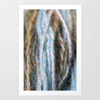 Aqua, teal, blue, rust, orange brown handspun yarn Art Print