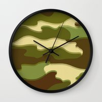 camo Wall Clocks featuring CAMO by Bruce Stanfield