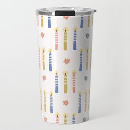 Hand drawn lit candles in blue, pink, yellow. Travel Mug