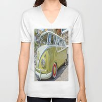 lime green V-neck T-shirts featuring Lime Green Camper Van by Cornish Creations