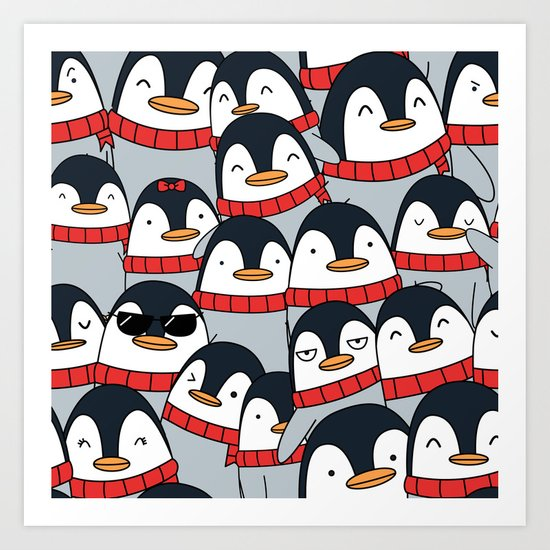 Merry Christmas Penguins! Art Print