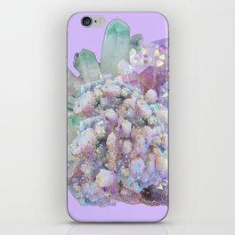 GLITTERING GREEN & PURPLE QUARTZ CRYSTALS ART iPhone Skin