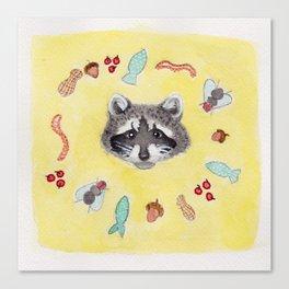 Raccoon Cycle Canvas Print