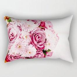 Pink Roses and Gerbera Daisy Flowers Wedding Bouquet, Love Photo, Romantic Celebration, Wall Art Rectangular Pillow